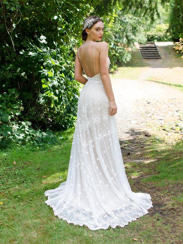Spagetti Straps Boho Lace Wedding Dress 5002