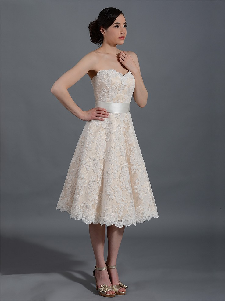 Ivory strapless lace wedding dress alencon lace with sash