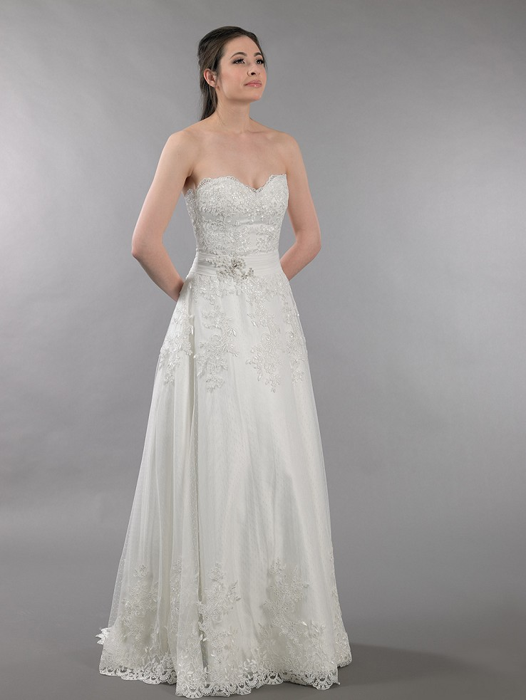 Ivory strapless dot lace wedding dress with embroidered lace