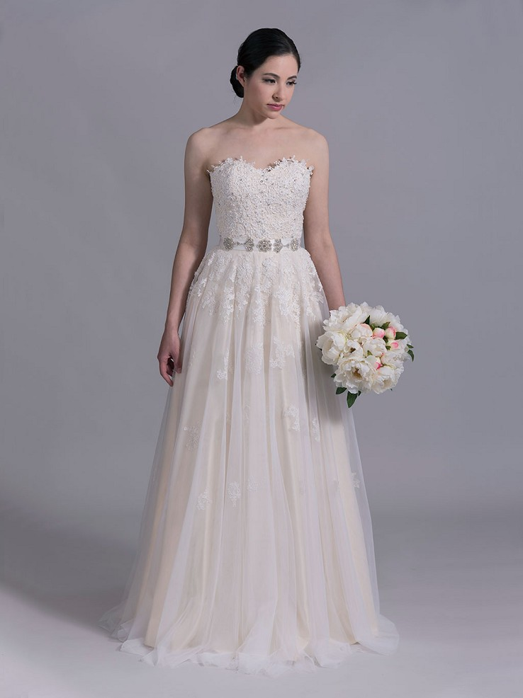 Strapless lace wedding dress in champagne 4015