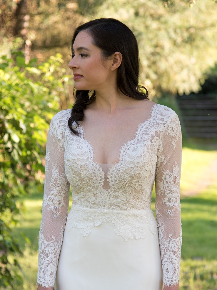 Long sleeve lace wedding dress 4077