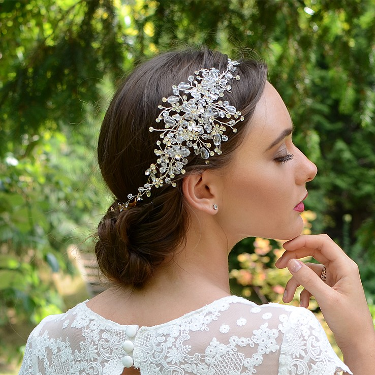Silver wedding hair vine HV007