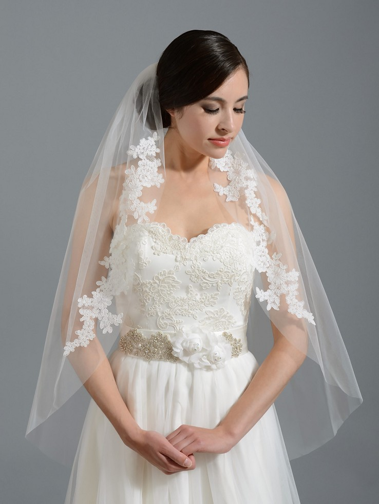 Ivory elbow wedding veil V052 alencon lace
